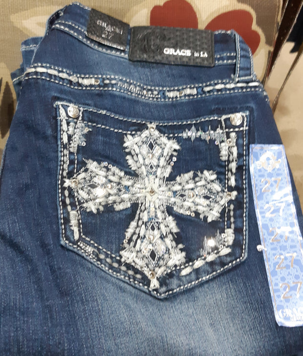 Grace In LA Ladies Easy Fit Bling Jeans - Cross