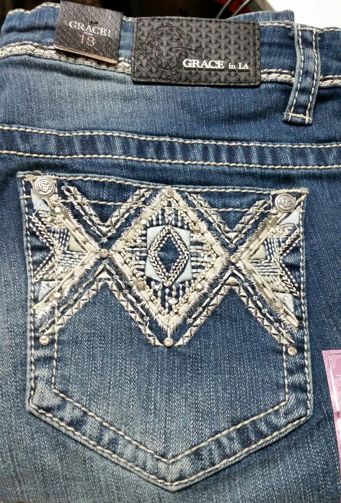 09c53ba9cc257 Grace in LA Ladies Plus Size Jeans - Aztec w o fring – Sheps Outfitters