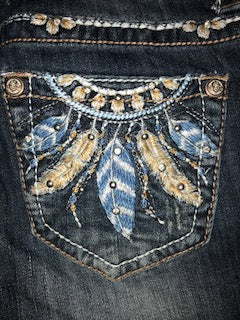 GRACE IN LA BLUE AND CREAM DREAM CATCHER JEANS