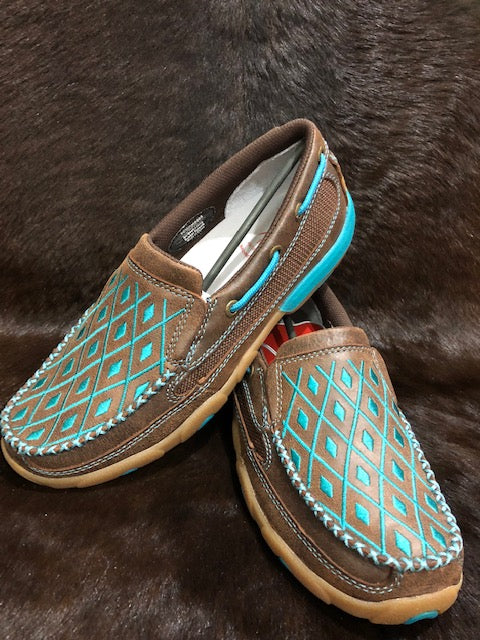 Twisted X Ladies Casual Driving Moc- Brown/ Turquoise - ON SALE