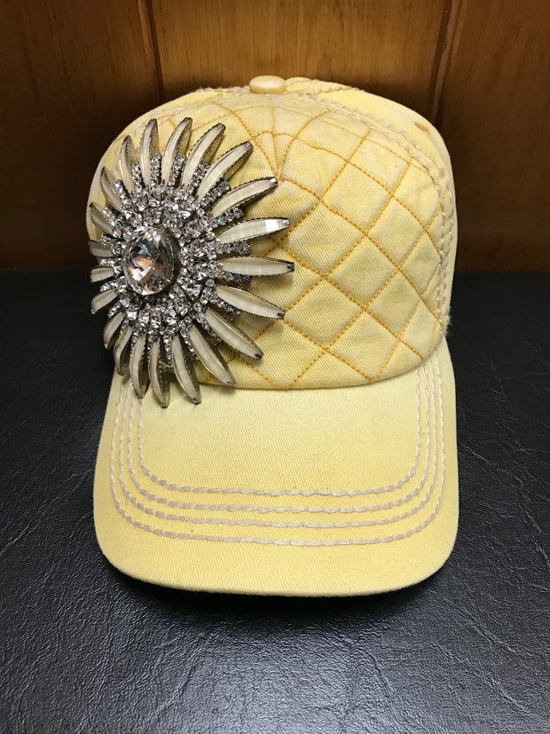Olive & Pique Yellow Bling Flower Cap