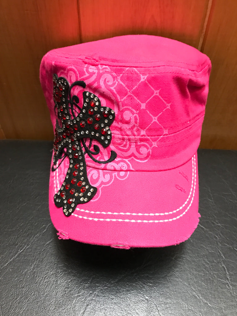 391eb76708fc Ladies Hot Pink cap with Black/ Red Cross