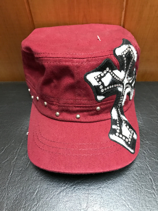 Ladies Burgundy Cross Bling Cap