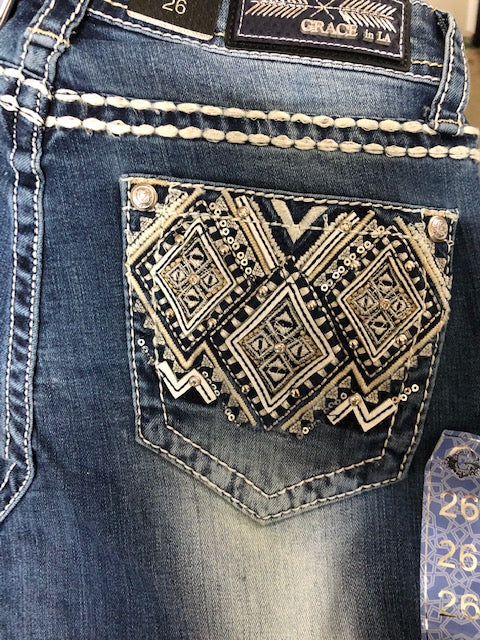 Grace in LA Diamond Aztec Easy Fit Bootcut Jean