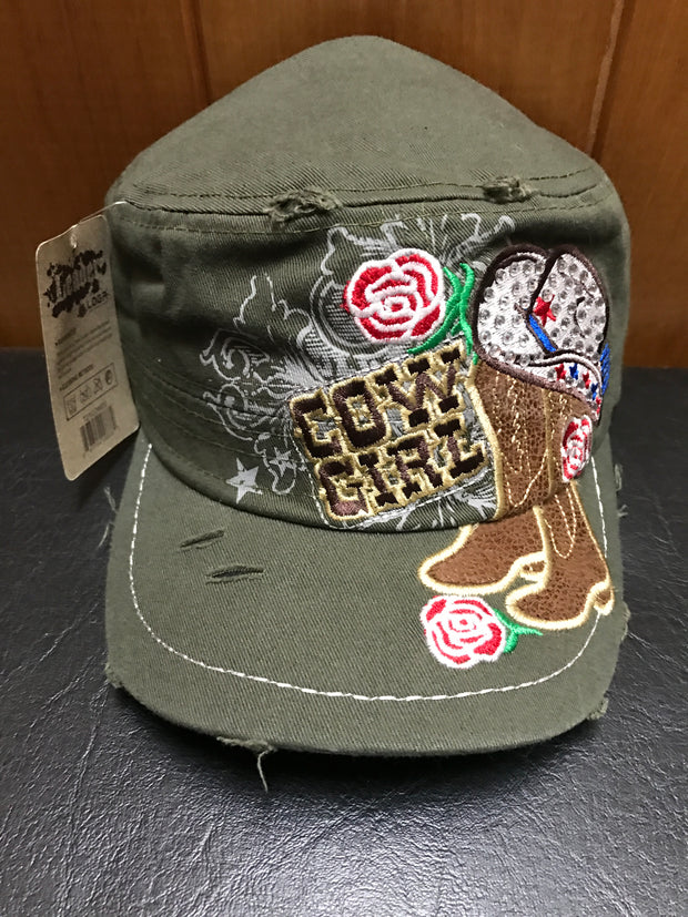 Ladies Khaki Cowgirl Cap