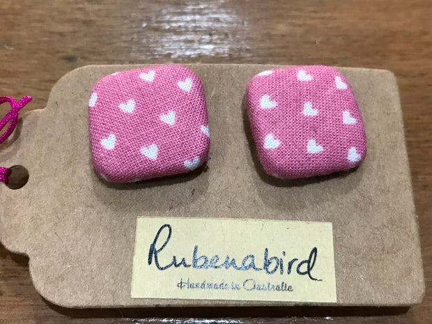 Rubenabird Pink and White Love Heart Square Fabric Earrings