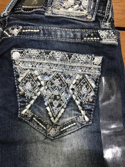Grace in LA Diamond Pattern Bootcut Jeans