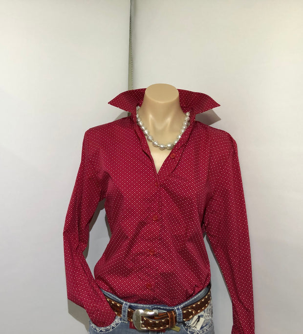 Country Tradition Ladies L/S Red Spot Shirt