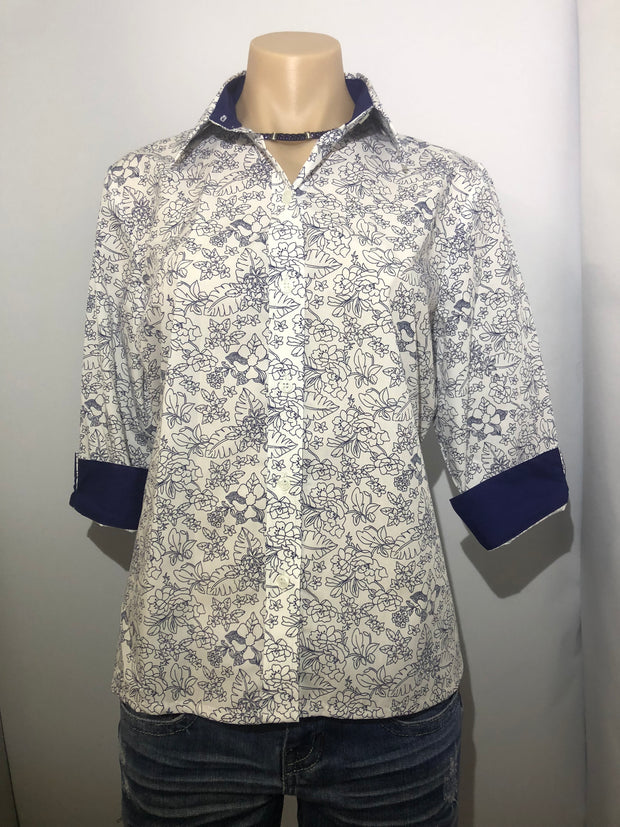 Country Tradition Navy and White Floral 3/4 Sleeve Ladies Shirt