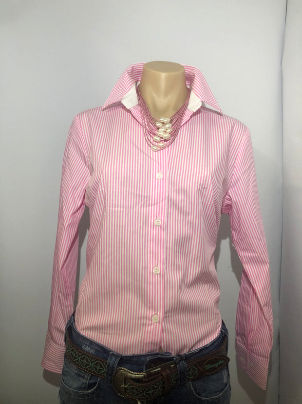 Country Tradition Pink Strip L/S Ladies Shirt