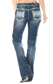 Grace in LA Blue and White Aztec Bootcut Jeans
