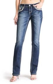 Grace in LA Ladies Easy Fit Bling Jeans - Western