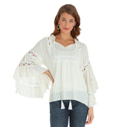 Wrangler Ladies Embroidered Ivory L/S Peasant Top