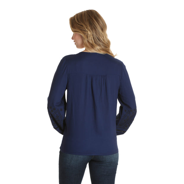 Wrangler Embroidered Peasant L/S Top