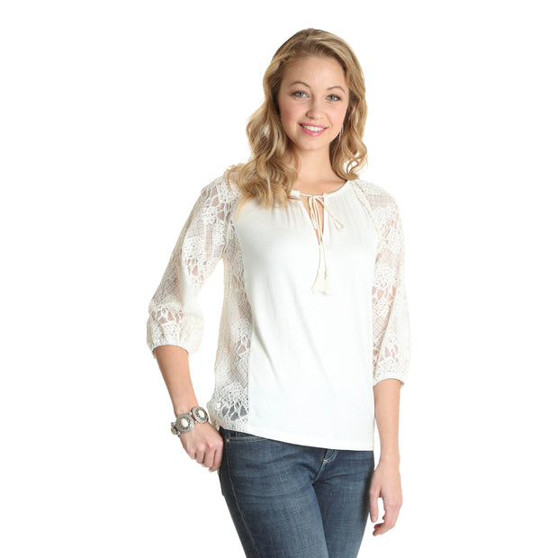 Wrangler Ladies White Tie Front 3/4 Lace Sleeve Top
