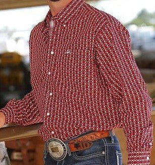 Cinch Mens Red/ Black and White Print L/S Western Shirt