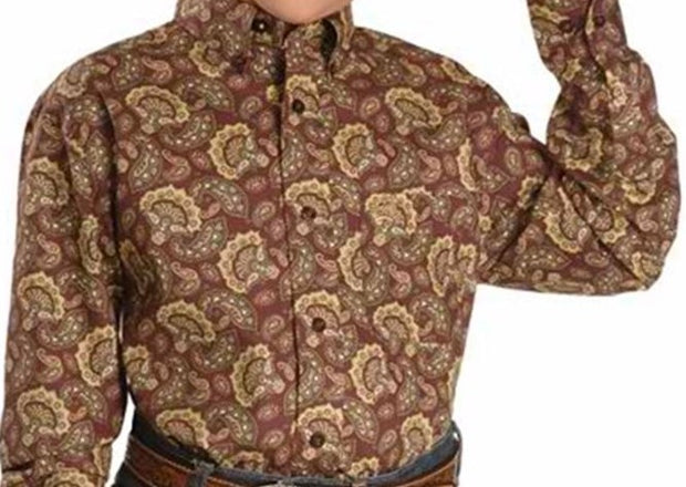 Cinch Boys Burgundy/ Brown Paisley Print L/S Shirt