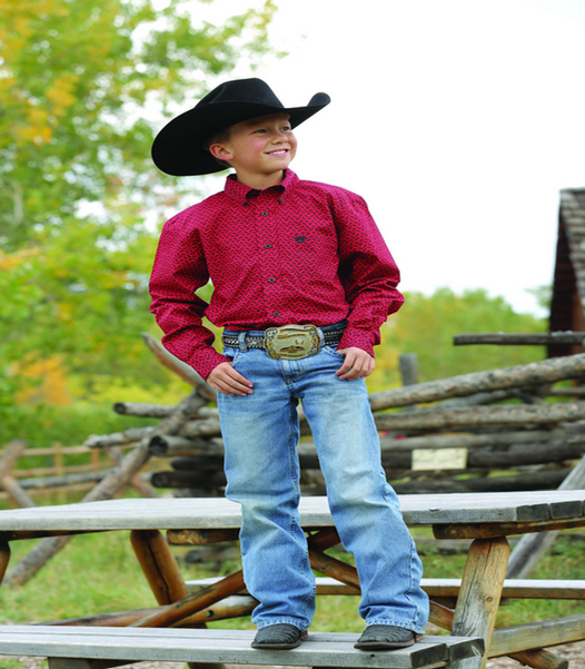 Cinch Boys Luthor Red L/S Shirt - ON SALE