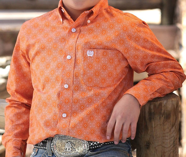 Cinch Boys Orange Print L/S Shirt