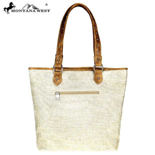 Montana West Wild West Collection Canvas Tote Bag - Tan