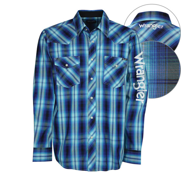 Wrangler Mens Axel Check Logo Long Sleeve
