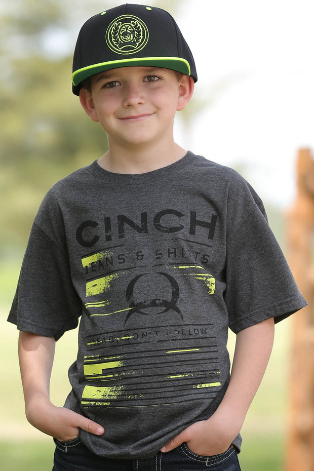 Cinch Boys Grey and Lime T Shirt