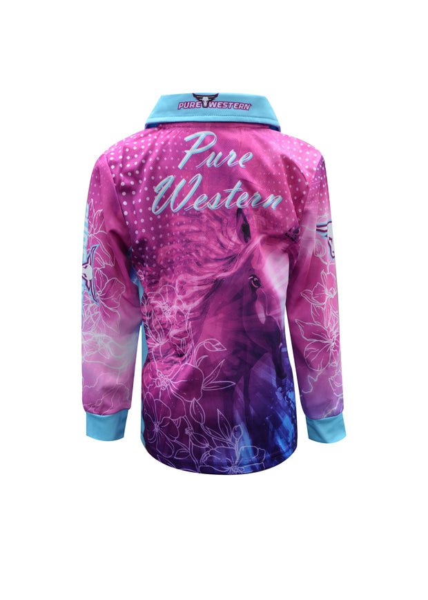 Pure Western Girls Horse Spirit L/S Fishing Top - Mauve