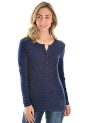 Pure Western Ladies Evie Lace Henley Top - Navy