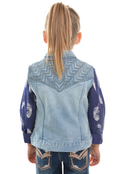 Pure Western Girls Valerie Denim Vest - Light Denim