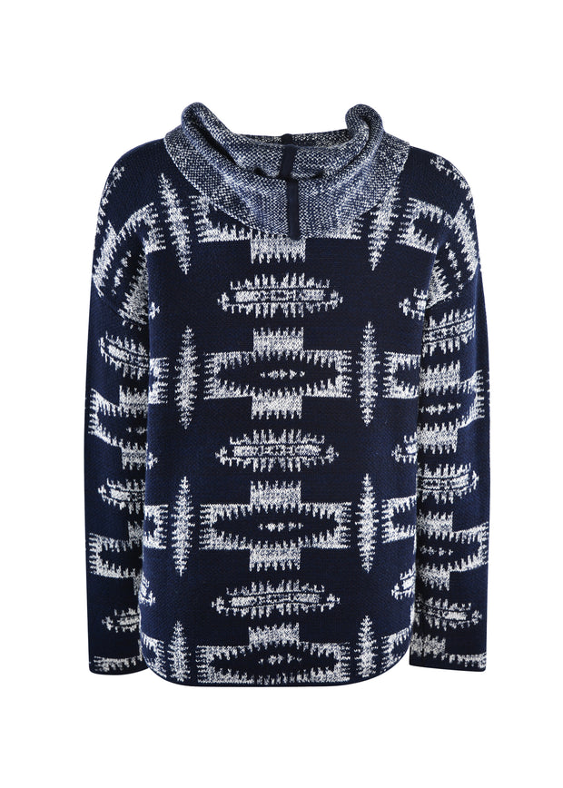 Pure Western Ladies Alexandra Knitted Pullover - Navy/Cream