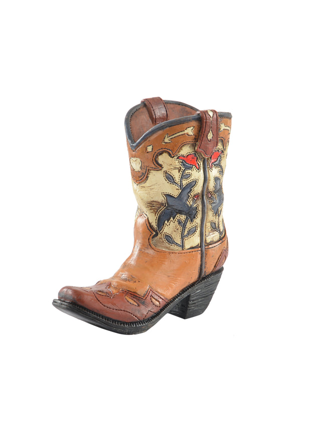 Pure Western Floral Boot with Swallows Pen Holder