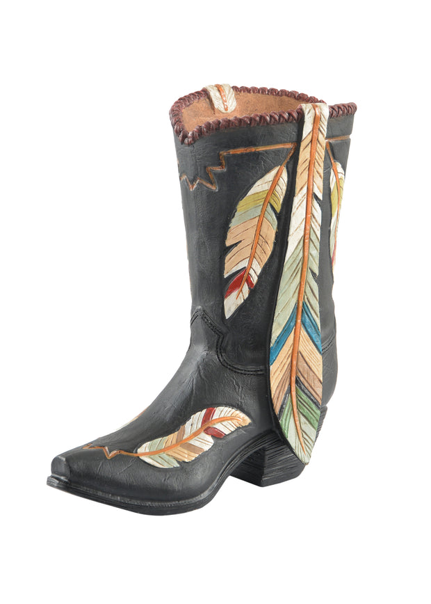 Pure Western Coloured Feather Boot Vase
