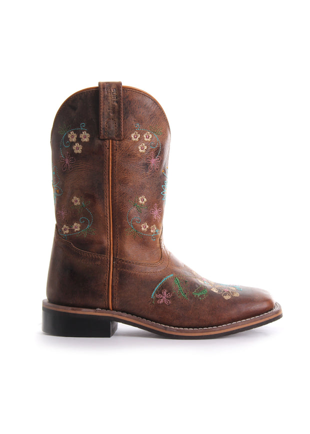 Pure Western Toddler Boots (Maybelle) - Oil Distressed Brown/Floral