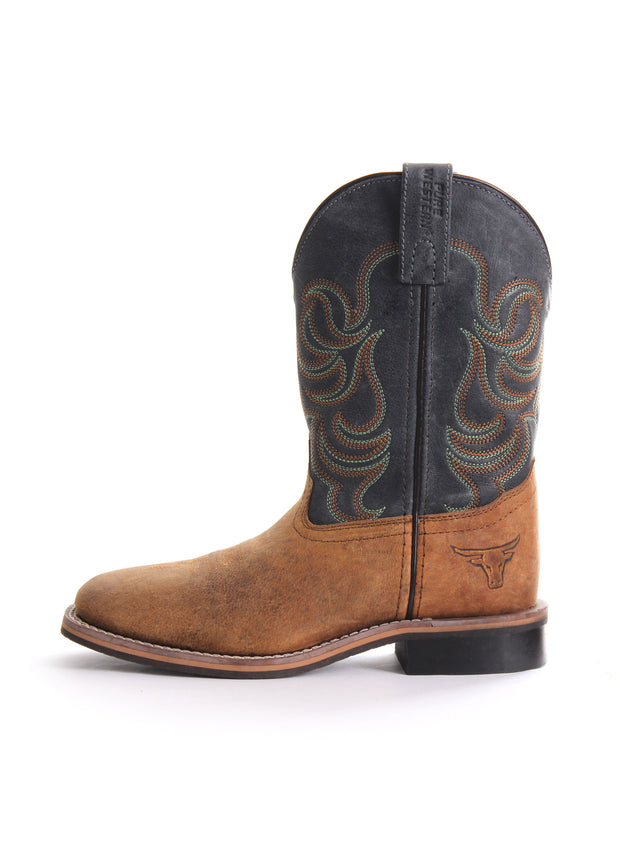 "Pure Western ""Cole"" Childrens Boot - Oil Distressed Rust/Navy"