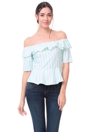 Naked Zebra Off The Shoulder White/Mint Stripe Ladies Top - ON SALE