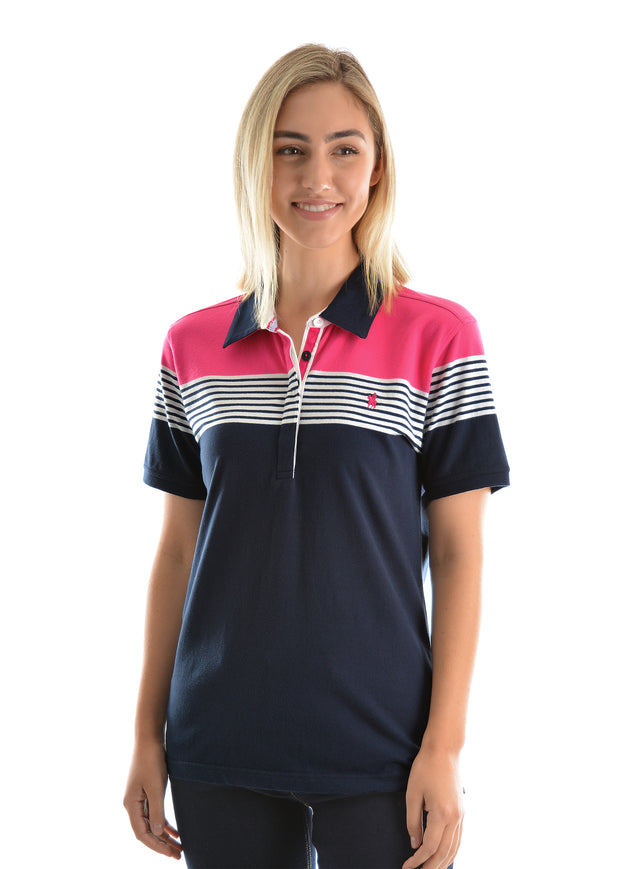 Thomas Cook Ladies Maree Stripe Short Sleeved Polo - Dark Navy/White Pink