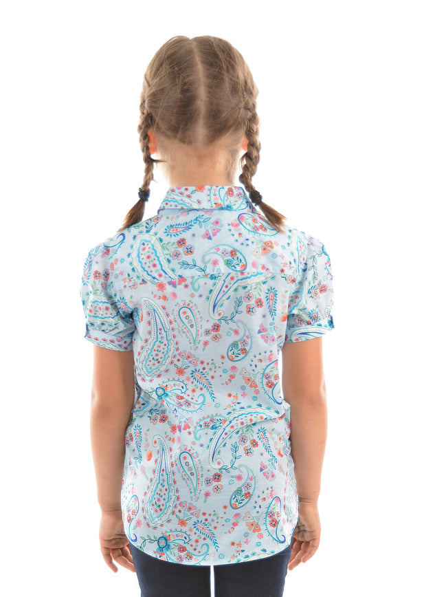 Thomas Cook Girls Angela Short Sleeved Shirt - Soft Blue