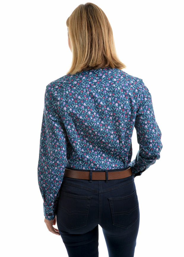Thomas Cook Ladies Jessica Print Long Sleeved Shirt - Berry Botanical