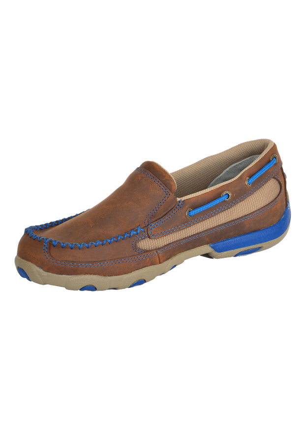 Twisted X Ladies Classic Royal Cross Stitch Slip On Mocs - Oiled Saddle/Blue