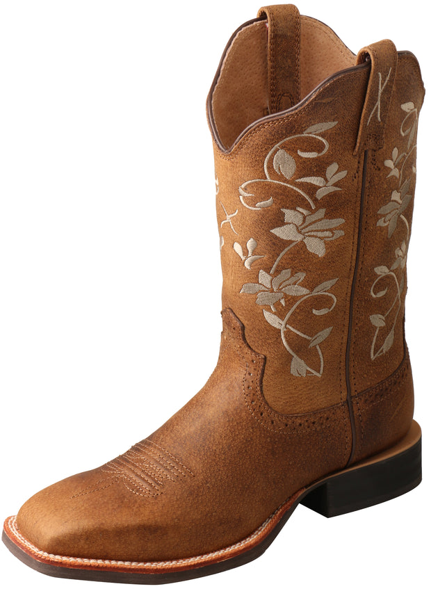 Twisted X Ladies Floral Ruff Stock Boots - Oiled Bomber