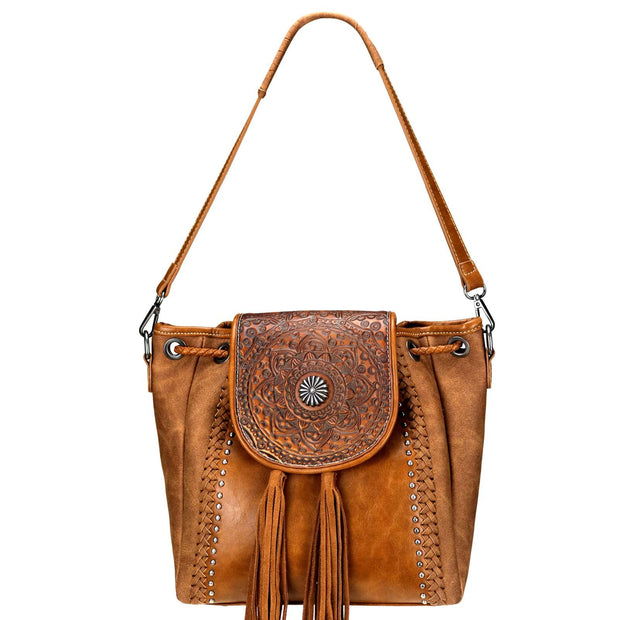 Trinity Ranch Tooled Leather Collection Concealed Carry Hobo/Crossbody - Brown