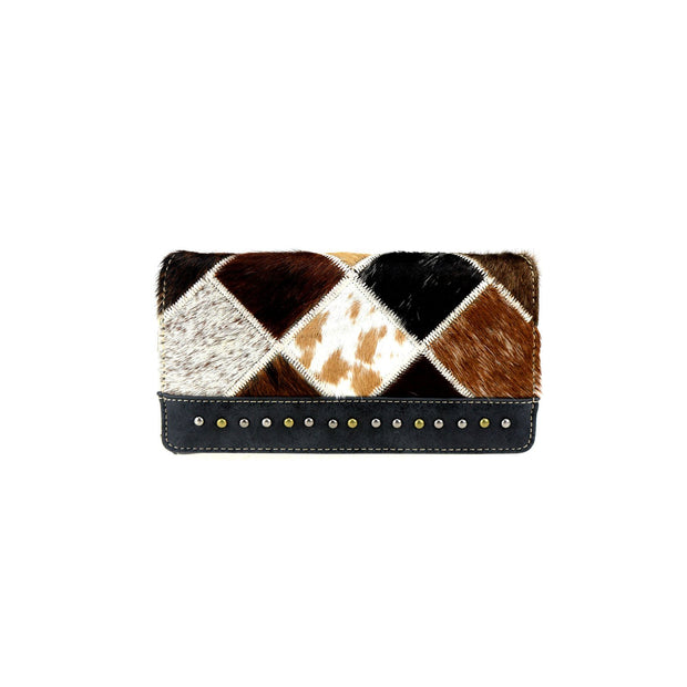 Trinity Ranch Hair On Checkered Multi Pattern Secretary Style Wallet- Black