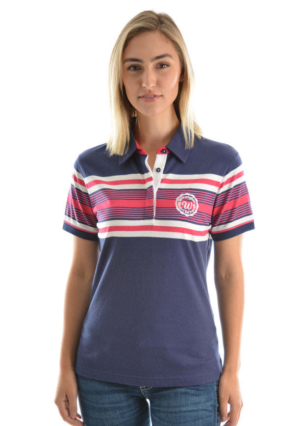 Wrangler Ladies Isla Short Sleeved Polo - Dark Navy/Raspberry