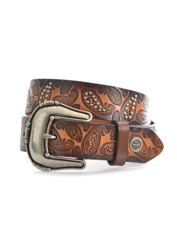 Wrangler Ladies Paisley Belt - Dark Tan/Coffee