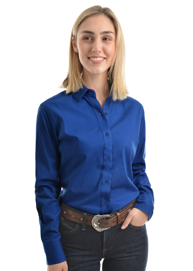 Wrangler Womens Tracey Drill L/S Shirt - Royal Blue
