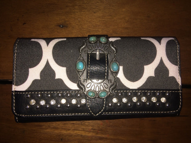Montana West Bling  Black and White Buckle Wallet with a Turquoise Stone Buckle