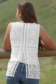 Cruel Girl Ladies White Lace Tank Top - ON SALE