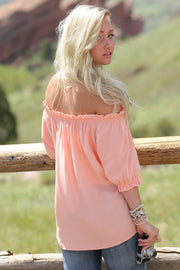 Cruel Girl Ladies Coral Off the Shoulder Blouse - ON SALE