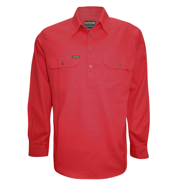 Hard Slog Mens L/S Half Placket Light Cotton Shirt - Bright Red