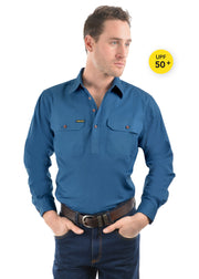 Hard Slog Men's Half Placket L/S Shirt - Blue River